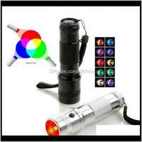 Gadget Colorshine Changement de lampe de poche 3W Alliage d'aluminium RGB Edison Multicolor Multicolor a arc-en-ciel de 10 couleurs torche RXepv dwkb1