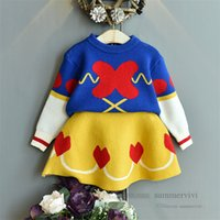 Girls love heart knitted clothing sets children patchwork color long sleeve sweater pullover+A-line skirt 2pcs kids princess outfits Q2824