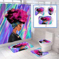 Tapis pour femmes africaines 4 pièces Set de rideau de sellette de sellette de plancher Tapis de salle de bain de salle de bain sans glissement