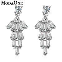 Stud ModaOne Tassel Long Sterling Silver Earrings For Women Fashion Trendy Cubic Zirconia Jewerly Aretes De Mujer