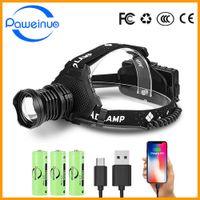 Paweinuo أقوى المصباح LED مصباح يدوي XHP90 عالية الطاقة الصمام المصباح 18650 قابلة للشحن رئيس ضوء USB الصيد كشافات P0820