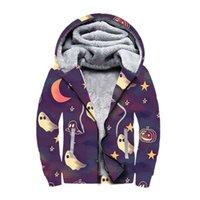 DIY Halloween Hoodies Winter Cardigan Freizeit plus Samt Reißverschluss Kapuzenpullover Sport Sportmantel Schädel Kürbis Drucken Dicke Sweatshirts Team