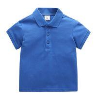 Baby Kids Tops T-shirts Polos T-shirt Enfants Revers Souffle Summer Coton Vêtements Primaire garçons et filles Toddler Tees Mode Classic Uniforme Couleur unie