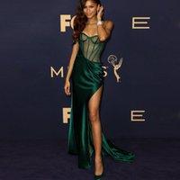 에메랄드 녹색 인어 이브닝 드레스 섹시한 섹시한 높은 슬릿 댄스 파티 드레스를 통해 사용자 정의 된 연예인 가운 기회 공식적인 착용
