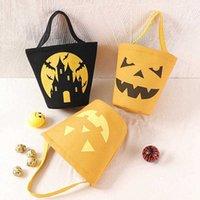 Halloween Party Design Canvas Barrel Cartoon Pumpkin Vampyr Ghost Witch Barn Present Candy Väska Partihandel
