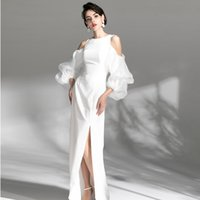 white banquet evening dress birthday annual cocktail party high-end elegant jewel zipper skirt with slit