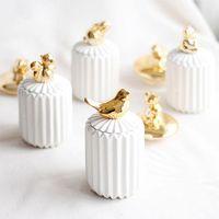 Cajas de almacenamiento BINS Caja de algodón nórdica Caja de hisopos Organizador Pequeño chapado animal Palillo de cerámica con tapa de escritorio Acabado de joyería