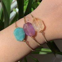 Bracelet en pierre naturelle réglable faceted geométrique charme d'améthystes Amazonite citrines rose quartz violet cristal femmes bracelets