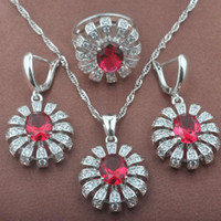 Earrings & Necklace Fashion Costume Silver Plated Bridal Jewelry Sets CZ Earring And Ring Womens Accessories Drop TZ0470