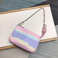 선물 상자가있는 최고 품질의 슈퍼 미니 핑크 넥타이 염료 지갑 귀여운 작은 체인 파우치 레이디 활기찬 필수품 액세서리 가방