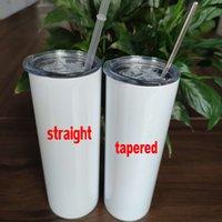 20oz cônico e sublimação reta canecas Tumbler 20 oz Aço Inoxidável em branco Garrafa de água de cilindro alto com tampas de palha de metal