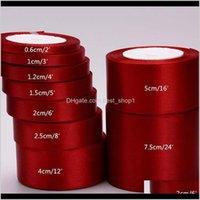 바느질 패브릭 도구 아기, 키즈 출산 드롭 배달 2021 100YARDS / LOT 15 / 20 / 25 / 40 / 50mm 와인 붉은 색 단일 얼굴 새틴 DIY 선물 Wrappi