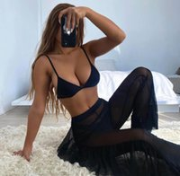 One-Piece Suits 3 Pieces Women Beach Swimwear Set Female Solid Color Bikini Tops+Panties+See-Through Cover Up Bathing Suit For Summer Swimsu