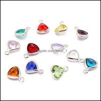 Ustalenia Komponenty Biżuteria Mody Kryształ Urok 12 Kolory Triquetous Birthstone Charms Dla Bacelet Naszyjnik DIY Dokonywanie biżuterii Wholesal