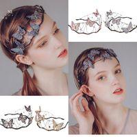 Hew-End Ladies Headband Butterfly Crown Handmade Nupcial Acessórios De Cabelo De Casamento Mori Menina Hollow Malha Headdress Hairband 2021 Bun Maker