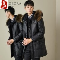 Men's Leather & Faux Genuine Jacket Men Winter Clothes 2021 Thick Warm Duck Down Sheepskin Coat Raccoon Fur Hooded Hiver 807098