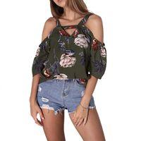 Blusas para mujer Camisas Mujeres Floral Impresión Verano Off Hombro Fabala Fabala Blusa corta Casual Tops Camiseta con cuello en V