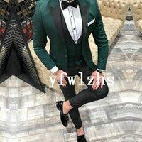Classic One Button Handsome Groomsmen Peak Lapel Groom Tuxedos Men Suits Wedding Prom Man Blazer ( Jacket+Pants+Vest+Tie) W892
