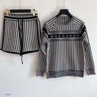 Damen zweiteilige Mischfarbe Pullover Set High-End-Stil Strickpullover + Shorts Gestickter Brief Beiläufiger Pullover Set, Hohe Qualität