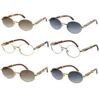 Venda Por Atacado decoração Óculos de sol de madeira de pavão para mulheres ou homens de madeira 18k ouro metal redondo Original Óculos Tamanho: 53-22-135mm