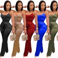 Женщины сексуальный слинг комбинезон дизайнер лето сплошной цвет без рукавов жилет шорты спортивные розыгрыши клуб жесткие комбинезоны брюки