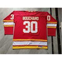 Baycustom homens juventude mulheres personalizam chamas de atlanta # 30 Daniel Bouchard hóquei jersey tamanho s-5xl