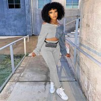 Women's sport casual pants set lace up hoodie pullover blouse tops and sweatpants two piece outfits splicing sportswear personalized tracksuit joggers suit G974LQI