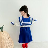 Spring Girls' College Wind Navy Collar Top + Pleated Skirt Female Baby Sailor Moon Two-piece Dress Suit Toddler Outwear Set Clothing Sets