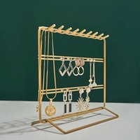 Jewelry Pouches, Bags Geometric Metal Earring Holder Stand Display Organizer Storage Ring Necklace Home Decoration