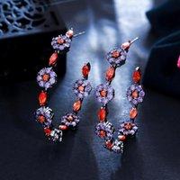Hoop huggie élégant violet rouge cubique zircone zircone fleur grand cercle rond boucles d'oreilles pour femmes de luxe chic bijoux cz936