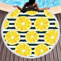 Towel Hawaiian Round Beach Extra Large No Sand Slices Citrus Blue Striped Pool Microfiber Blanket 59 Inches