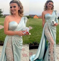 2021 Plus Size Arabic Aso Ebi Luxurious Lace Beaded Prom Dresses One Shoulder Sheath Satin Evening Formal Party Second Reception Gowns Dress ZJ557