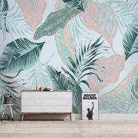 Papel 3D moderno Nordic Simple Líneas abstractas Hojas tropicales Photo Murales Sala de estar TV Dormitorio Fondo Papeles de pared