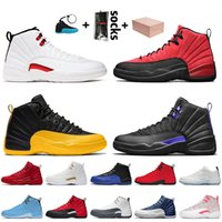 Nike Air Jordan 12 12s Jordan Retro 12 الرجال أحذية كرة السلة 2021 أعلى جودة مع إطارات الملتوية لعبة انفلونزا الطيور كلية الذهب الظلام كونكورد نيلي تاكسي الأحذية الرياضية