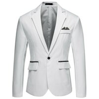 Men's Suits & Blazers Men Blazer Winter Fashion Clothing Solid Suit Business Office Work Wedding Evening Party Single Button For