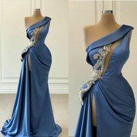 2021 Sexy Prom Dresses One Shoulder Keyhole Sheath Evening Gowns Silver Crystal Beads High Side Split Custom Sweep Train Formal vestidos de novia