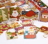 160pcs / lot Santa Claus mini saluto s messaggio vacanze Benedizione carta natale albero appeso ornamenti
