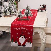 Cucina TableRunner Pranzo Ristorazione Pranzo Tovaglia Buon Natale Tavolo Runner Xmas Tovaglia Bandiere Flags Elk Stampato Lino Partito OWF9961