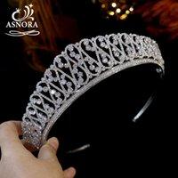 Hair Clips & Barrettes ASNORA Crystal Geometric Figure Headdress Silver Bridal Crown Zirconia Tiara Wedding Dress Accessories Women Jewelry