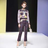 디자이너 여성 Leopard Print Lapel 인쇄 패치 워크 재킷 및 빈티지 슬림 바지 패션 가을 2 조각 세트 여성의 tracksuits