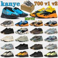 kanye west x yeezy Boost 700 V1 V2 MNVN sun wave Runner mens man sneakers shoes West Azael Alvah Azareth Utility Black Solid Phosphor Orange yeezyboost 700s womens woman sport shoe