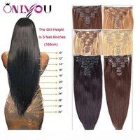 Mais novo clipe de cabelo humano virgem brasileira em extensões 8 pcs conjunto 14-24 polegadas Cabeça Chefe de Onda de Corpo Clipe Natureza em Extensões de Cabelo Humano
