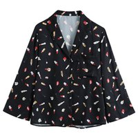 Turn Down Collar Blouses Women Fashion Lipstick Printed Black Shirts Elegant Loose Long Sleeve Top Female Ladies GAA Women's &