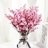 Decorative Flowers & Wreaths Pink Silk Artificial Plum Cherry Blossoms Bouquet DIY Wedding Home Arrangement Decor Wreath Babies Breath Fake