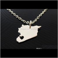 10Pcs Asian Country Map Necklace Charm Pendant Syrians Pride I Heart Love Capital Of Syria Damascus City Necklaces For Souvenir 8Mdtk Koonc
