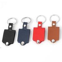 Personalisierte leere Sublimation Schlüsselanhänger Wärmeübertragung Leder Keychain Anhänger Gepäckdekoration Schlüsselanhänger DIY Geschenk 4 Farben DWA7315