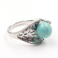 10 Pcs Silver Plated Resizable Finger Ring Leaf with Malachite Stone Bead for Gift Green Aventurine Fashion Jewelry