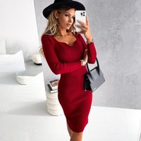 Casual Dresses Vintage Square Collar Knit Bodycon Dress Women 2021 Autumn Sweater For Knitting Mid-length Vestidos Femme