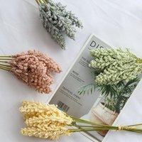 Decorative Flowers & Wreaths 6Pcs 3D Simulation Wheat Ear Small Fresh Bouquet Silk Flower Plastic Dried Arrangement Material Pog