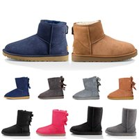 Newest designer classic wgg boots short shoes bailey bow tall button triplet australia womens men boot winter snow australian fur furry bowknot buttons booties 36-44